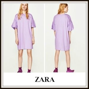 Zara Lilac Puff Sleeve T-Shirt Oversized Dress